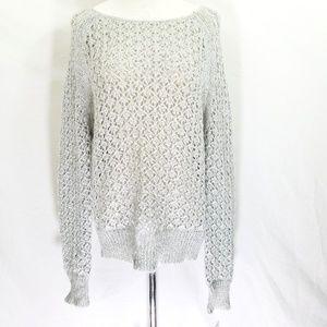 BAR III Open Knit Metallic Flecked Silver Sweater